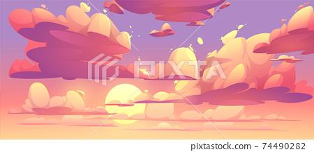 Vector cartoon sunset sky with clouds 74490282