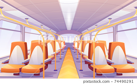 Vector empty bus interior with orange seats 74490291