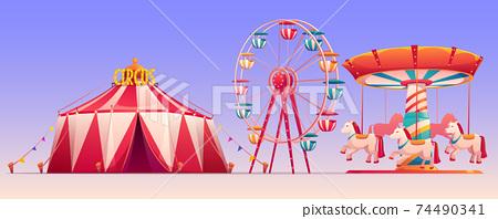 Amusement carnival park with circus tent clip art 74490341