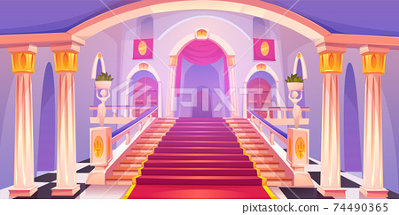 Castle staircase, upward stairs in palace entrance 74490365