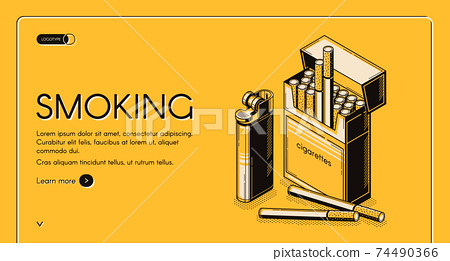 Smoking activity landing banner cigarettes package 74490366