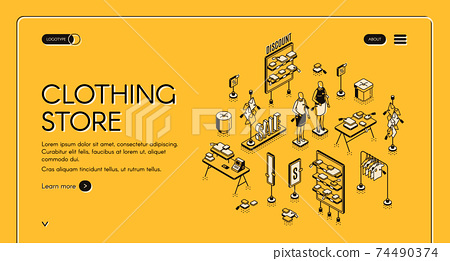 Clothing store isometric landing page, cloth shop 74490374