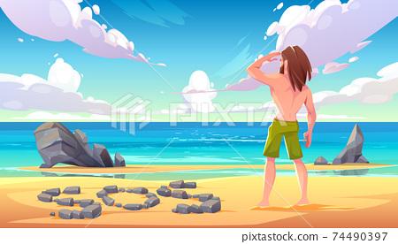 Castaway man on uninhabited island, shipwreck 74490397