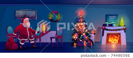 Santa Claus sneak to Christmas tree to place gifts 74490398