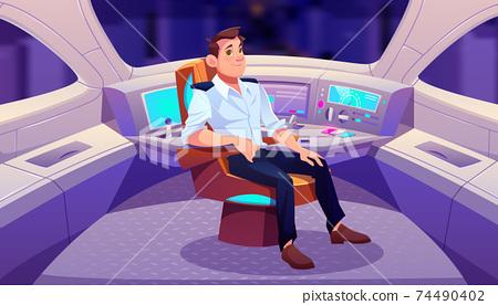 Train driver in cockpit, man railroad engineer 74490402
