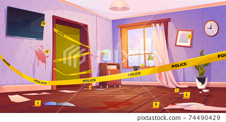 Crime scene, murder place with yellow police tape 74490429