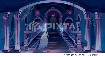 Old castle with ghosts flying in dark scary room 74490432