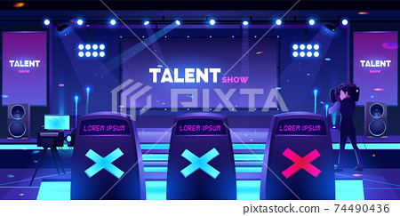 Talent show stage with jury chairs, empty scene 74490436