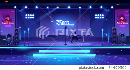 Stage with rock music instruments and equipment 74490502
