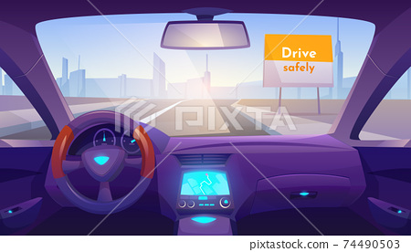 Empty car interior inside with gps on dashboard 74490503
