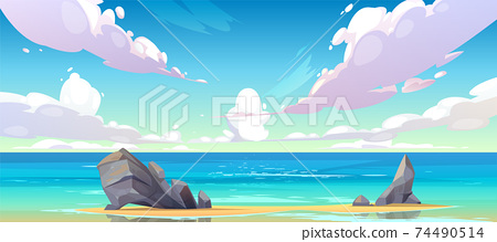 Ocean or sea beach nature tranquil landscape. 74490514