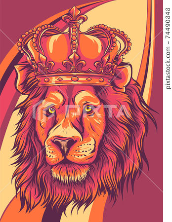 Head of a lion with a crown vector illustration 74490848
