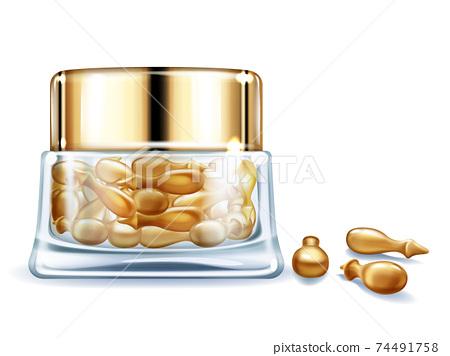 Cosmetic vitamin, oil capsules realistic vector 74491758