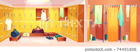Vector gym - changing room with shower cabins 74491806