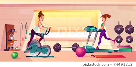 Vector gym background with treadmill, bike training 74491812