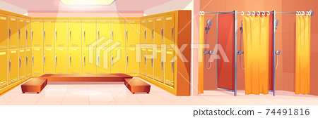 Sport club lockers room carton vector interior 74491816