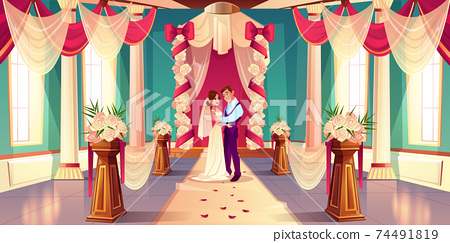 Newlyweds on wedding ceremony cartoon vector 74491819
