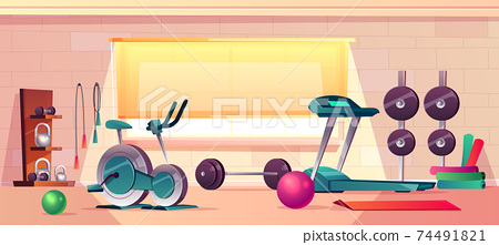 Vector gym background with treadmill, bike training 74491821