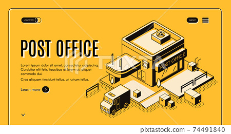 Post office online service isometric web banner 74491840