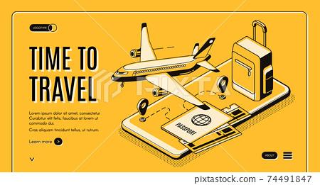 Online mobile service for travelers vector website 74491847