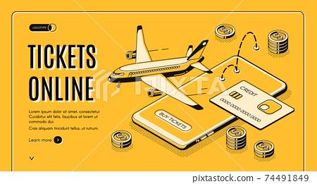 Buying tickets online isometric vector website 74491849