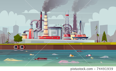 Vector ecology concept. Water pollution. Factory plant. 74491939