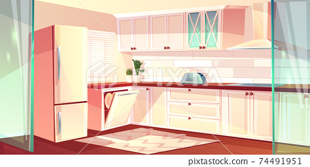 Vector cartoon bright kitchen in pink colors 74491951