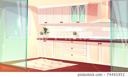 Vector cartoon empty kitchen in pink colors 74491952