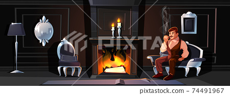 Gentleman smoking tube near home fireplace vector 74491967
