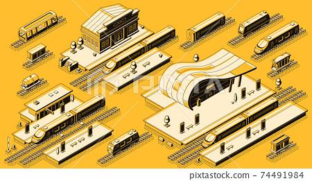Train station with locomotive isometric vector set 74491984