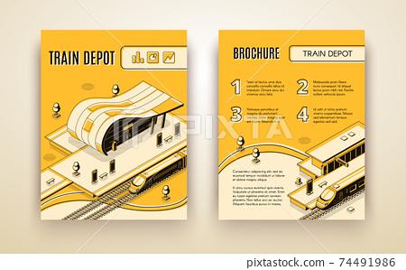 Train depot isometric vector brochure template 74491986