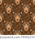 pattern with tiger head 74492233