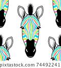 pattern with zebra head 74492241