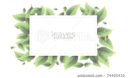 green leaves rectangular frame background design 74493410