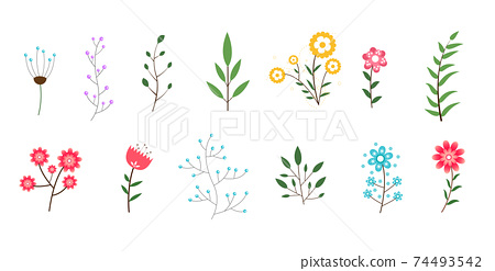 minimal flowers and leaves collection decorative design 74493542