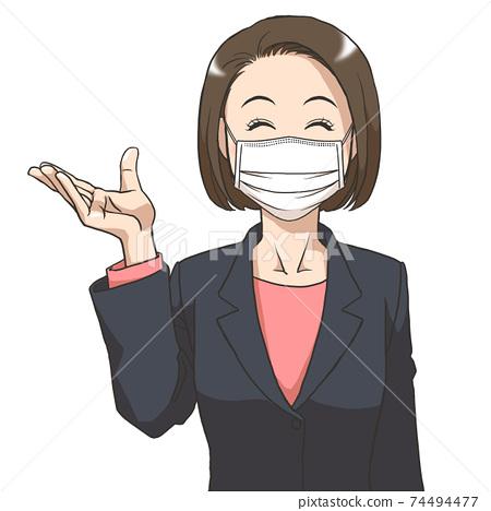 一個戴著面具和西裝的年輕女子微笑 74494477