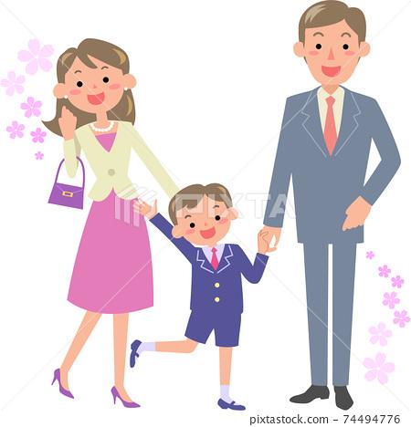 父母和男孩去上小學的入學典禮 74494776