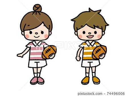 橄欖球俱樂部成員的插圖教訓,俱樂部活動,興趣愛好顏色 74496006