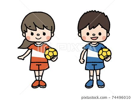 手球成員的插圖教訓,俱樂部活動,興趣愛好顏色 74496010