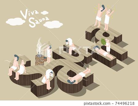 남성과 여성이 사우나를 즐길 등각 일러스트 74496218