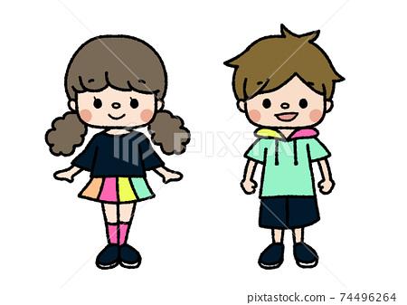 舞蹈成員的插圖課程,俱樂部活動,興趣愛好顏色 74496264