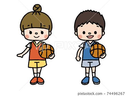 籃球俱樂部成員的插圖課程,俱樂部活動,興趣愛好顏色 74496267