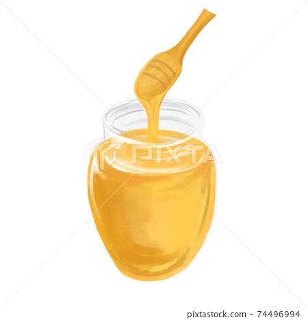 수채화 풍의 꿀 일러스트 74496994