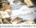 Growth of gold on stock market concept. Gold bar and ingots on chart of financial report. 74498179