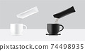 3D Glossy Stick sachet mockup and Pour Powder to Cup of water. Vector illustration. Food and beverage Packaging concept design. 74498935