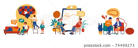 Psychotherapy. Mental health and psychology support. Patients meeting with psychologist. Stressed people talking about problems. Vector scenes set of individual psychological therapy 74499273