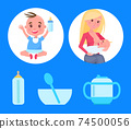 Posters Set with Baby Boy Sitting Bottle of Milk 74500056