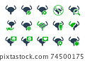 Set of urinary bladder colored icon. Healthy internal organ, muscular organ of the excretory system illness diagnosis symbol 74500175