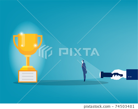 Businessman looking big award shadow from flashlight concept vector illustrator 74503481