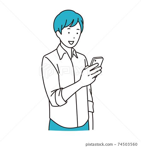 使用智能手機的年輕人 74503560